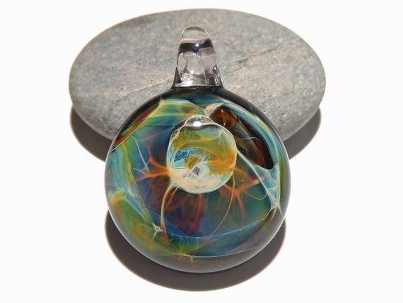 Galaxy Jewelry Gifts - Venus Moon Pendant - Glass Necklace - Blown Glass Jewelry - Original Design - Universe Filament -  Pure Fine Silver