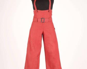 Masmira at Chilia red denim overalls