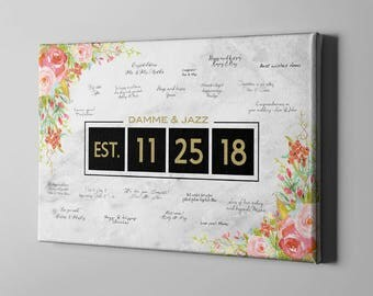 SALE 50% Off Canvas Guest Book, Elegant Roses Signature GuestBook, Gold Wedding GuestBook, Elegant Bridal Shower Gifts for Bride - CGB136