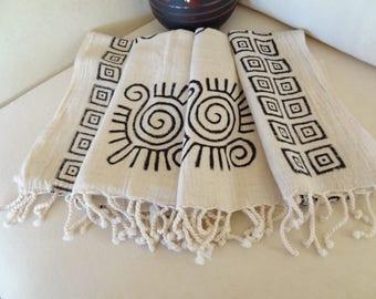 Traditional Turkish Towel, a special lithography Peshtemal-Home Decor Peshtemal-Spa,Bath,Beach,Yoga,Pool,Fitness Towel,Christmas Gifts