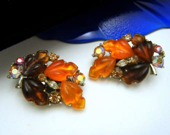 Vintage Lisner Glowing Brown Orange Lucite Leaf Earrings Rhinestones Clip Ons