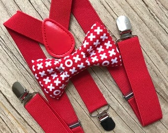 Bowtie & Suspenders- XOXO Cotton Bowtie/Red Suspenders/Baby and Toddler Bowties/Birthday/Wedding Party
