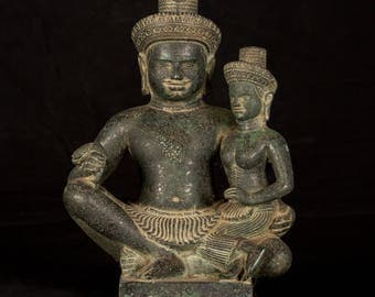 19th Century South Asia Bronze Figure of Hindu God Shiva & Parvati - 29cm/11.25""
