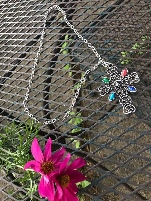 """Vintage Silver Plated Filigree Cross Pendant 24"""" Necklace with Hemitite & Navette Stones by AVON"""