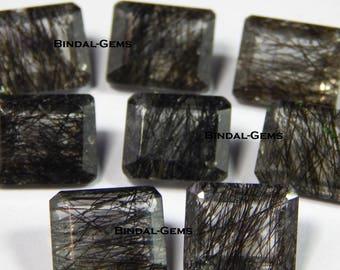Wonderful 10 Pieces Lot Black Rutile Octagon Shape Faceted Cut Gemstone