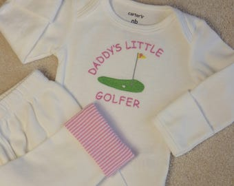 Newborn Girl Coming Home Outfit. Daddy's Little Golfer Bodysuit. Knit Pants w Seersucker Cuffs. Take Home Hospital Outfit. Baby Girl Golf