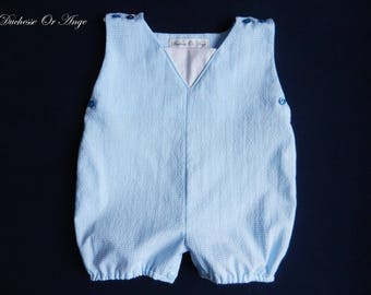 Romper, baby blue and white Plaid cotton - 6 months