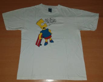 Vintage 90s BART SIMPSON Who The Hell are You Matt Groening L Size rare 80s T-shirt