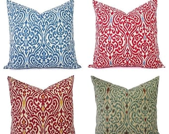 15% OFF SALE Decorative Pillow Cover - Red Pillow - Blue Pillow - Ikat Pillow Cover - Ikat Decorative Pillow - Pillow Cover 22 x 22 - Pillow