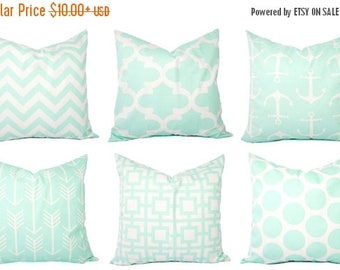 15% OFF SALE Mint Pillow Covers - Mint Green and White Throw Pillows - Decorative Pillows - Mint Euro Sham - Mint Throw Pillow - Mint Lumbar
