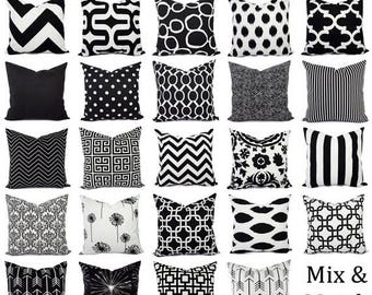15% OFF SALE Black Pillow Covers - Black and White Pillows - Black Accent Pillow - Black Pillow Sham - Couch Pillow - White Pillow Cover - B