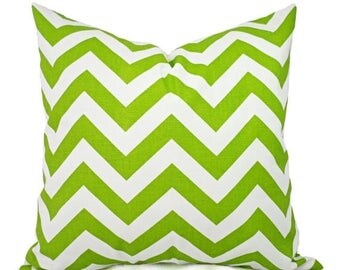 15% OFF SALE Green Couch Pillows - Green Pillow Cover - Green and White Chevron Pillows - Green Decorative Throw Pillow - Accent Pillow