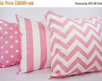 15% OFF SALE Three Decorative Throw Pillow Covers - Baby Pink and White - Nursery Decor - Couch Pillow Cushion Cover Accent Pillow
