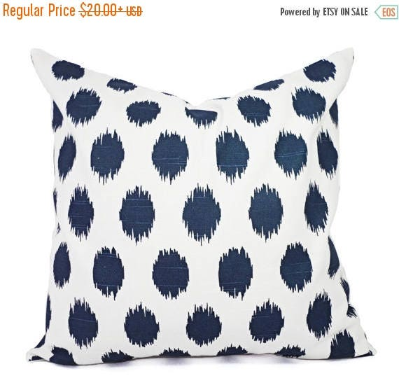 OFF SALE Navy Blue Pillow Covers Two Navy Ikat Throw