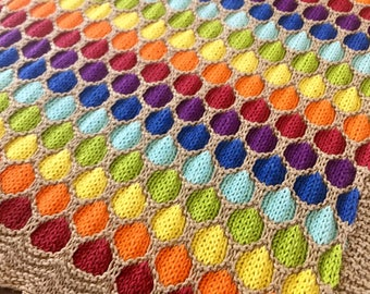 Rainbow honeycomb stitch baby blanket 100% cotton