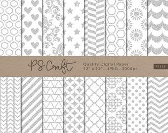 Silver Glitter Digital Papers, Seamless Silver Glitter Background, Silver Patterns, Silver Papers, Wedding Invitation