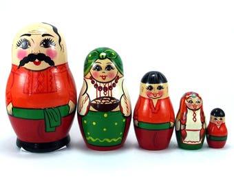 Ethnic Nesting Dolls 5 pcs Russian matryoshka doll Babushka set for kids Wooden authentic stacking handpainted dolls toys Ukraine Man