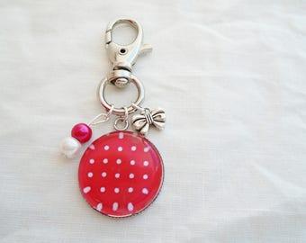 Red polka dots cabochon bag charm