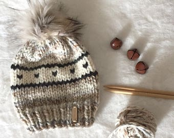 Neutral Adult / Teen Beanie Toque | Winter Hat | Knit Hat with Faux Fur Pompom