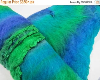 SALE Mulberry silk Lap hand-dyed in tones of Blues / Greens and cold tones.