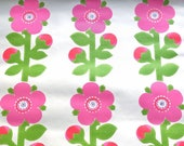 60s vintage wallpaper floral print Sanderson rare wallpaper hobby retro decoration pink green flower power mod English design