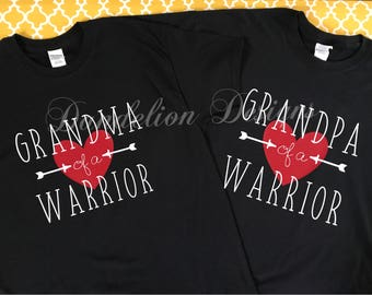 Heart Warrior Grandma of a Warrior Grandpa of a Warrior Tee T-Shirt Awareness Gift Granny Papa Survivor