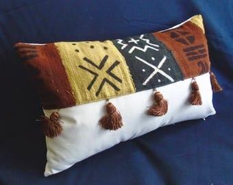"Handmade full fringe 20"" x 12"" African mudcloth bogolanfini accent pillow"