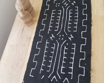 "African Mudcloth Bogolanfini  table runner 58"" x 16"" table centerpiece, tribal, ethnic #116"