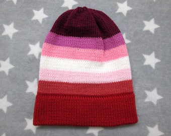 Knit Pride Hat - Lesbian Pride - Slouchy Beanie