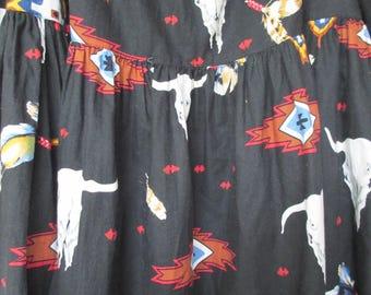 Vintage 80s Southwestern Theme Black Tiered Midi Prairie Skirt  Georgia O'Keeffe