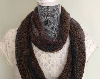 Bohemian Scarf - Hand Knit Scarf - Brown Purple Scarf - Women Scarf - Long Scarf - Boho Scarf - Skinny Infinity Scarf - Mother's Day Gift