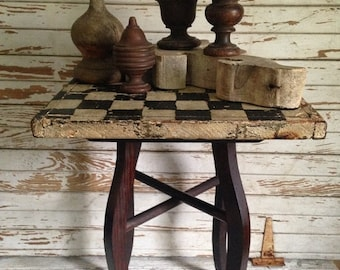 GoingOutOfBusinessSale Antique Architectural Salvage side table,checkerboard top,weathered,OOAK occasional table,original art deco,painting,