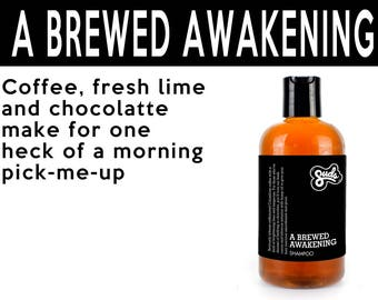 Brewed Awakening Shampoo. Fair Trade Organic Vegan Cruelty-Free Cosmetics. 5% of Proceeds Proudly Go To Grassroots Charities