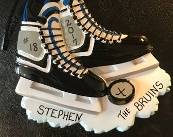 Black or Pink Hockey Stakes Personalized Christmas Ornaments