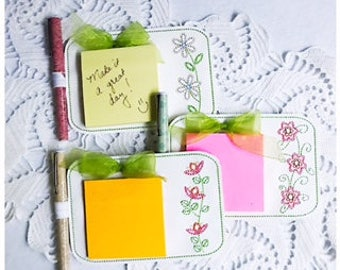 Flower Notepad Set of 3 Machine Embroidery Files in pes, dst, exp, vip, jef, hus and vp3 Formats - Instant Download