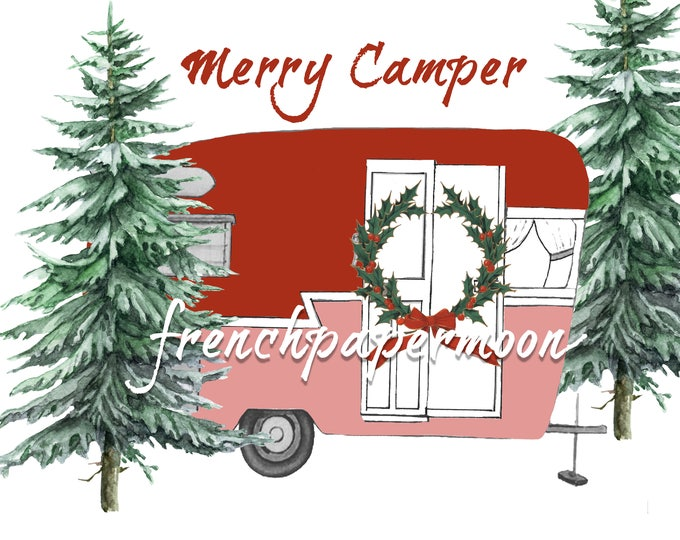 Christmas Camper Digital Graphic, Xmas Pillow Image, Merry Camper, Printable Graphic Transfer Image 0103
