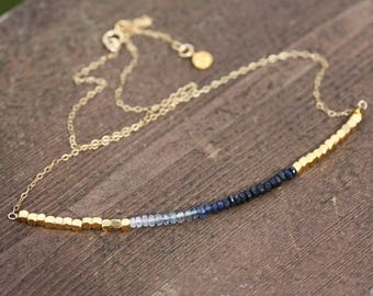 Delicate Bali Bead Natural Ombre Blue Sapphire Necklace in Yellow Gold , September Birthstone , Wedding , Bridal , 5th 45th Anniversary