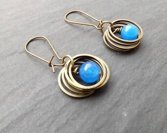 """Earrings """"rings"""" electric blue"""
