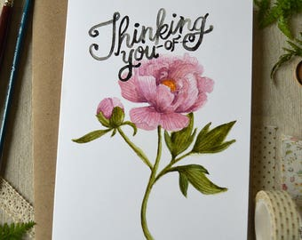 Thinking of You Card/ Watercolor Note Card/ Peony Card/ Sympathy Card/ Friendship Card/Hand Lettered Card/Just Because/ Watercolor Peony-5x7