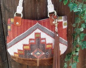 Kilm  Boho Tote Purse Bag Vintage Fabric Leather Bag