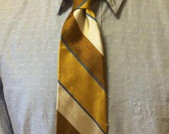 ON SALE Gold/Brown/Blue Diagonal Stripe Silk/Polyester Men's Tie c1960s