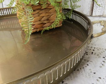 """Vintage Brass Round Serving Tray - Barware Tray - Mid Century Brass Tray 13"""" - Tray with Handles"""