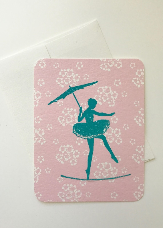 Turquoise Tightrope Walker Silhouette Card