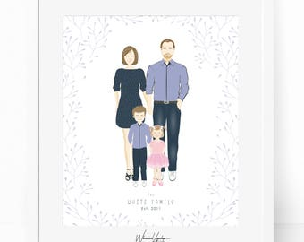 Digital Custom portrait of couple, Custom couple illustration, personalized portrait, family illustration with pets, wedding gift, portrait