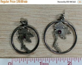 10% OFF 3 day sale Set Of 2 Sterling Silver 6.1g Ruby Stone Thailand Pendants Charms 1950s Used