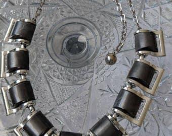 Dark Grey Plastic Lucite Link Necklace
