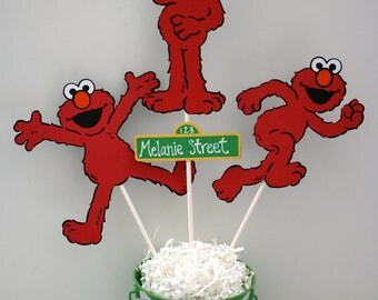 3 Different Elmo's centerpiece, Sesame Street birthday centerpiece, Elmo centerpiece
