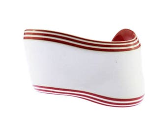 White Cuff Bracelet, Red Striped Cuff Bracelet, White and Red Cuff Bracelet, White and Red Bracelet, White Bracelet