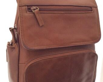 Vintage leather backpack tan retro bag
