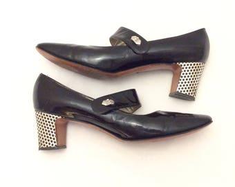 Vintage Andrew Geller chunky block heel Mary Janes Jane OOK size 7 narrow